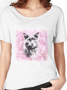 Rosey Cat Women's Relaxed Fit T-Shirt