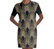 Art deco,gold,black,chic,elegant,1020's,great the Gatsby,pattern Graphic T-Shirt Dress
