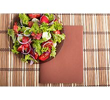View from above on a plate with fresh salad of raw tomatoes Photographic Print