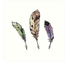 Watercolor Quill design Art Print