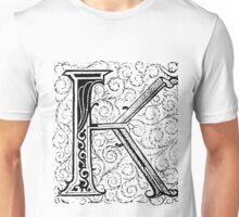 Baroque Alphabet Letter K Unisex T-Shirt