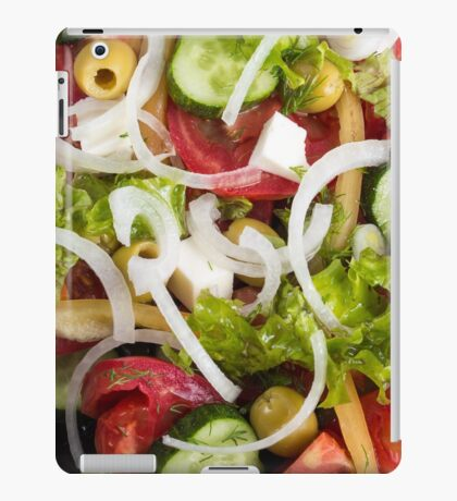 Top view of a plate of salad made from natural raw vegetables iPad Case/Skin