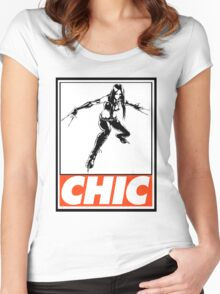 X-23 Chic Obey Design Women's Fitted Scoop T-Shirt