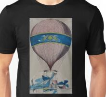 0069 ballooning Balloon with open frame wood or metal basket and attached propellers Unisex T-Shirt