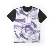 Blue Vintage Shrimp Engravings Graphic T-Shirt