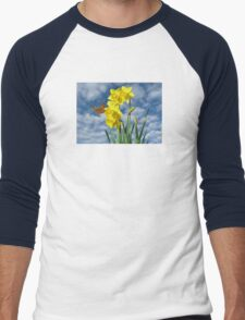 Copper Butterfly with Daffodils  Men's Baseball ¾ T-Shirt