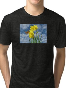 Copper Butterfly with Daffodils  Tri-blend T-Shirt