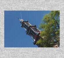 Amsterdam Spring - Blue Crown Westerkerk Bell Tower Above the Trees Kids Tee