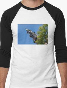 Amsterdam Spring - Blue Crown Westerkerk Bell Tower Above the Trees Men's Baseball ¾ T-Shirt