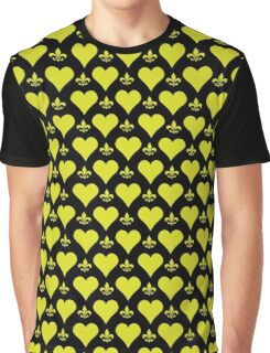 Black and Gold Hearts and Fleur de Lis Patterns Graphic T-Shirt