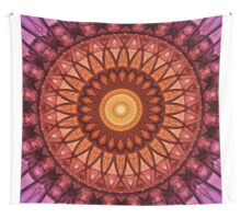 Mandala in pink,red and yellow tones Wall Tapestry