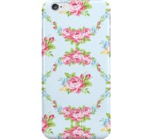 Shabby chic,pale blue,white,pink roses,floral,pattern,green,vintage, girly,victorian,feminine,elegant,country,trendy,modern,contemporary iPhone Case/Skin
