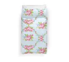 Shabby chic,pale blue,white,pink roses,floral,pattern,green,vintage, girly,victorian,feminine,elegant,country,trendy,modern,contemporary Duvet Cover