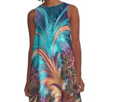 Feather - abstract 3d Fractal A-Line Dress