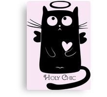 Cute Black Cartoon Cat Angel with Heart Holy Chic Canvas Print