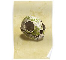 cat skull painted with wasabi flowers Poster