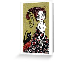 Powder Puff Red Greeting Card
