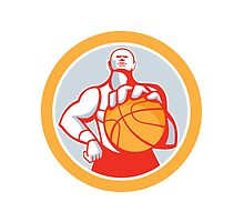 Basketball Player With Ball Circle Retro by patrimonio