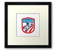 American Rodeo Cowboy Bull Riding Shield Retro Framed Print