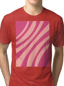 Abstract floral stripes pattern pink coral  Tri-blend T-Shirt