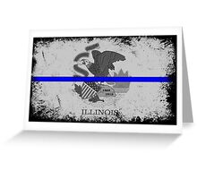 Blue Line Illinois State Flag Greeting Card