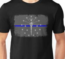 Blue Line Indiana State Flag Unisex T-Shirt