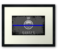 Blue Line Kansas State Flag Framed Print