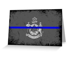 Blue Line Maine State Flag Greeting Card