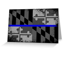 Blue Line Maryland State Flag Greeting Card