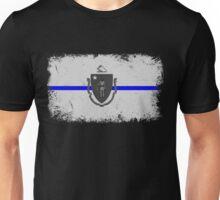 Blue Line Massachusetts State Flag Unisex T-Shirt