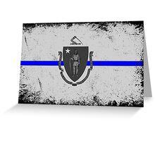Blue Line Massachusetts State Flag Greeting Card