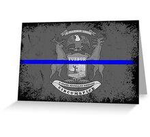 Blue Line Michigan State Flag Greeting Card