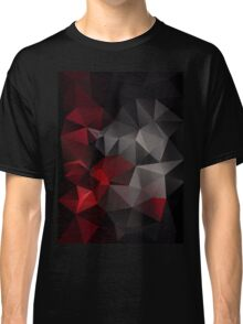 Abstract background of triangles polygon wallpaper in black red colors Classic T-Shirt