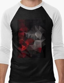 Abstract background of triangles polygon wallpaper in black red colors Men's Baseball ¾ T-Shirt