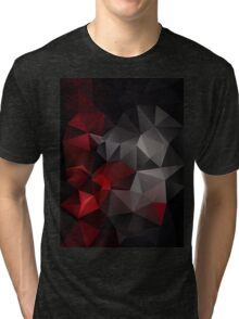 Abstract background of triangles polygon wallpaper in black red colors Tri-blend T-Shirt