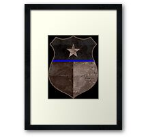 Thin Blue Line Texas Flag Police Badge Framed Print