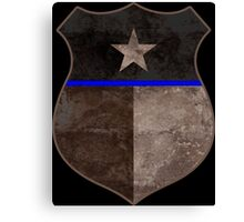 Thin Blue Line Texas Flag Police Badge Canvas Print