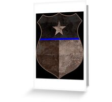 Thin Blue Line Texas Flag Police Badge Greeting Card