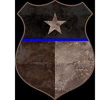 Thin Blue Line Texas Flag Police Badge Photographic Print