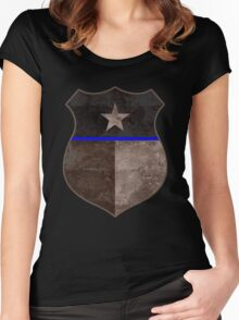 Thin Blue Line Texas Flag Police Badge Women's Fitted Scoop T-Shirt