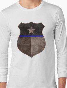 Thin Blue Line Texas Flag Police Badge Long Sleeve T-Shirt