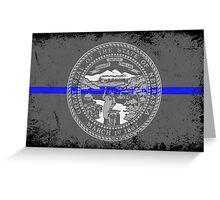 Blue Line Nebraska State Flag Greeting Card