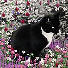 Freckles in Flowers II - Tuxedo Cat by Diane Clancy