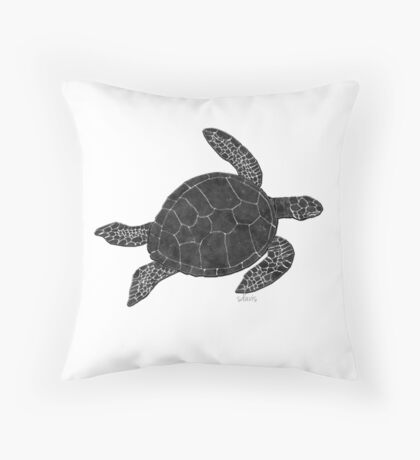 Sea Turtle 7G Black & White Throw Pillow