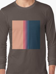 Coral blue Color blocks pattern- vertical Long Sleeve T-Shirt