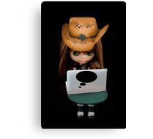 THOUGHTS OF YOU DOLL & LAPTOP PICTURE/CARD Canvas Print