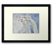 Looping In The Skies - The Red Arrows Farnborough 2014 Framed Print