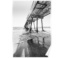 Hermosa Beach Pier - Black & White Poster
