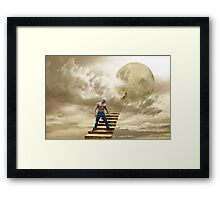 THERE'S A MAN ON THE MOON Framed Print