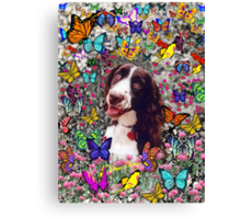 Lady in Butterflies - Brittany Spaniel Canvas Print